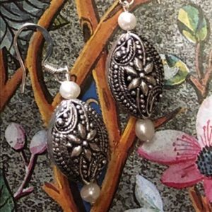 Casey Keith Design Jewelry - Floral Silver & Pearl Earrings